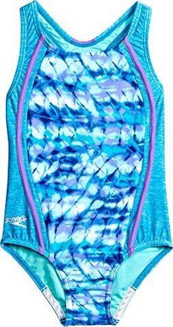 Speedo Girls Rhythmic Tie Dye Sport Splice, Cyan, Size 5