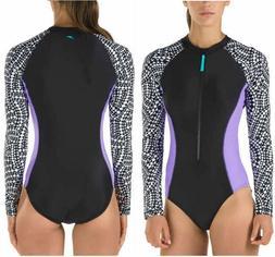 SALE -Speedo Ladies' Long Sleeve One-Piece Swimsuit, Geometr