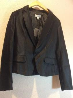 Calvin Klein, Shiny Business Career Cropped Suit Jacket Blac