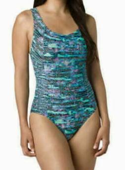 SPEEDO Shirred Princess Teal One-Piece Swim Suit NWT $88 Siz