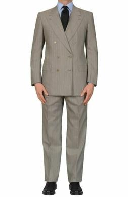 "BRIONI ""SIENA"" for ARAMIS Handmade Gray Striped Wool DB Suit"