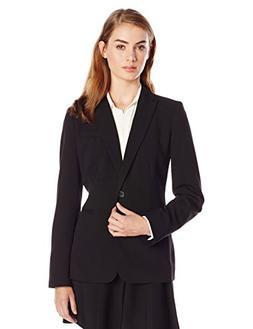 Calvin Klein Women's Single Button Suit Jacket, Black, 4