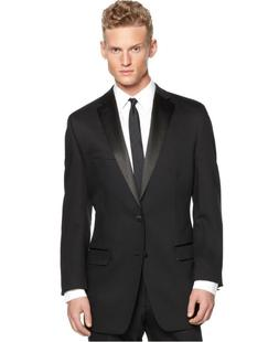 slim 46r black solid 2 button wool