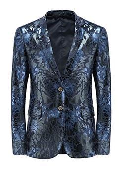 MOGU Mens Slim Fit Sports Coats and Blazers US Size 36  Blue