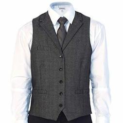 Gioberti Slim Fit Formal Herringbone Tweed Suit Vest, Gray B