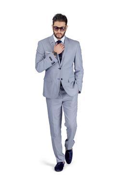Slim Fit Men Suit Micro Textured Weave 2 Button Notch Collar