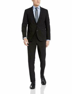 Cole Haan Men's Slim Fit Suit, Black, 42 Regular