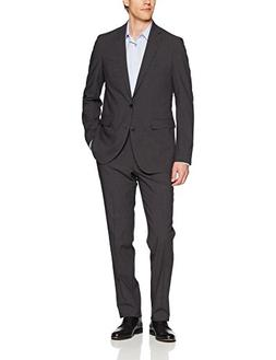 Cole Haan Men's Slim Fit Suit, Solid Medium Grey, 40R