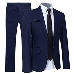 YFFUSHI Slim Fit 2 Piece Suit For Men One Button Casual/Form