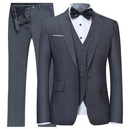 YFFUSHI Men's Slim Fit 3 Piece Suit One Button Blazer Tux Ve
