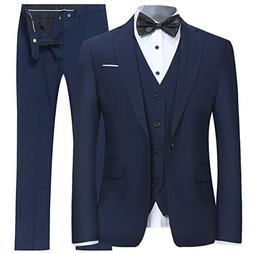 Men's Slim Fit 3 Piece Suit One Button Blazer Tux Vest & Tro