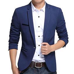 Pishon Men's Slim Fit Suits Casual One Button Flap Pockets S