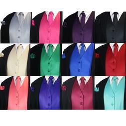 SOLID Men's Dress Vest & Neck Tie Hankie Set For Suit or Tux
