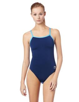 Speedo Solid Polyester Flyback Female Navy Blue 34