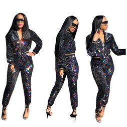 Spring New Zipper Sexy Women Suit Nightclub Colorful Sequins