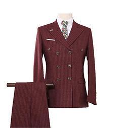 JinXuanYa Men's Striped Double Brested 3 Piece Suit Business