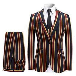 Men's Colored Striped 3 Piece Suit Slim Fit Tuxedo Blazer Ja