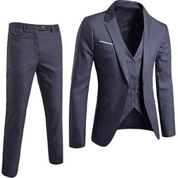 MAGE MALE Men's 3 Pieces Suit Elegant Solid One Button Slim