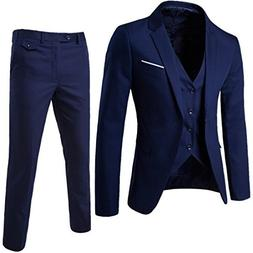 WULFUL Men's Suit Slim Fit One Button 3-Piece Suit Blazer