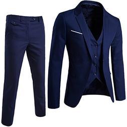 MAGE MALE Men's 3 Pieces Suit Elegant Solid One Button Slim