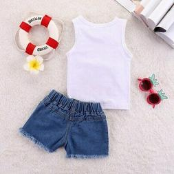 Summer Baby Girls Casual  Denim Shorts Suits Costume Set.