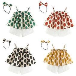 Summer Baby Girls Casual T-shirt Tops+Shorts Headband Suits