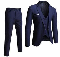 Super Light Navy Blue 3 Piece Suit- Vest Pants and Jacket- S
