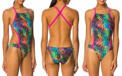 Speedo Swimsuit  12 38 Competition Kaleidoscope Pink Strap O