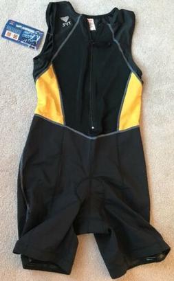TYR Sz L. Men's Competitor Multi Sport Tri Suit Black/Gold -
