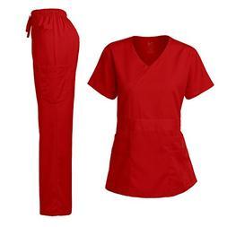 Dagacci Medical Uniform Junior Style-Tab Waist Wrap Top & Un