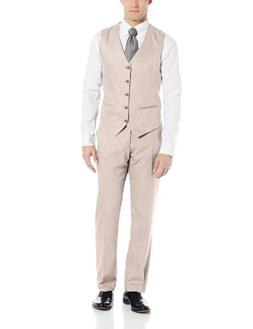 Perry Ellis Men's Texture PVL Suit Vest, Natural Linen, Smal