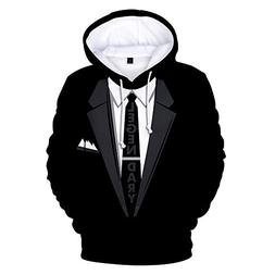 VOSTE Tie Printed Suit Men's Hoodie Tux Bachelor Party Weddi