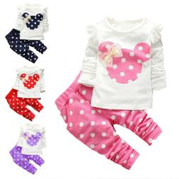 Toddler Baby Girls Minnie Mouse Outfits Clothes T-shirt Tops