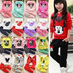 Toddler Kids Baby Girls Minnie Mouse Outfits Clothes Set T-s