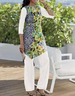 Ashro Trianon White Multi Summer Pant Suit Set Dinner Cruise