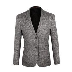 VOBOOM Men's Two Button Sport Coat Elbow Patches Blazer Casu