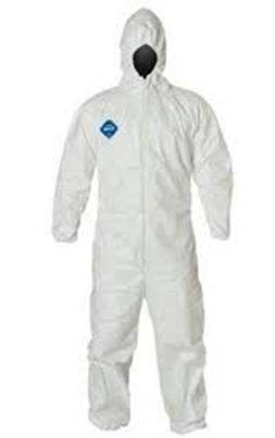 DUPONT TY127 BUNNY SUIT TYVEK COVERALLS WITH HOOD MD-4X-FREE