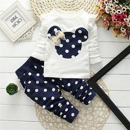 US 2Pcs/set Baby Girls Minnie Mouse Coat Tops + Pants Set Ki