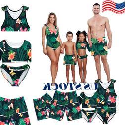 US Family Matching Swimwear Men Women Kids Vintga Floral  Be