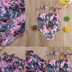 US Kids Baby Girls Floral Swimwear Swimsuit Bikini Bathing S