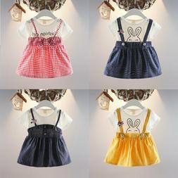 US Kids Infant Baby Girls Polka Rabbit Dress Outfit Set Part