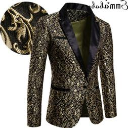 US Men's Jacquard Weave Slim Fit One Button Blazer Formal Ca