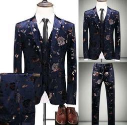 US Men Slim Business Formal Wedding 3-Piece Suit Leisure Bla
