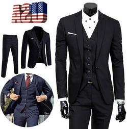 US Men Slim Business Formal Wedding 3-Piece Suit Leisure Bla
