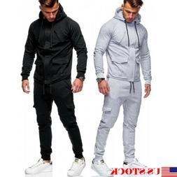 US Men Tracksuit Sports Suit Set Outwear Sweat Hoodie Long P