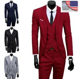 US Mens 4-Botton Suits Business Blazer Slim Fit  Suits Jacke