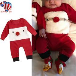 US Newborn Baby Boy Girl Christmas Clothes Jumpsuit Romper B