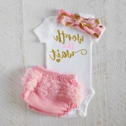 US Newborn Baby Girls WORTH THE WAIT Romper+Tutu Shorts Outf