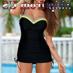 US One-Piece Swimsuit Bikini Swimwear Monokini Swimming Blac