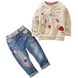 US STOCK Kids Baby Girls Clothing Tops Sweater + Jeans Trous
